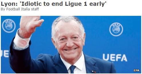 法甲再遭炮轰:提前结束愚蠢至极 西班牙都能复赛