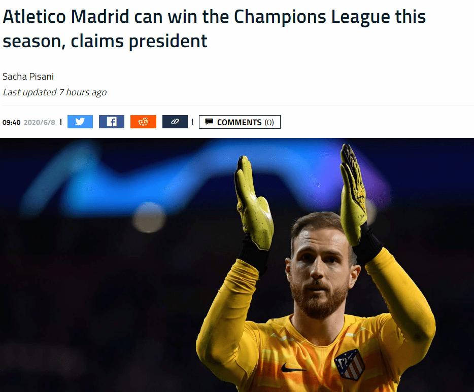 霸气!淘汰利物浦之后有点飘了,马竞主席豪言能拿欧冠冠军