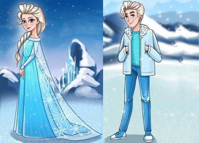 迪士尼公主性别转换,艾莎公主成英伦帅哥,安娜公主成络腮胡大叔