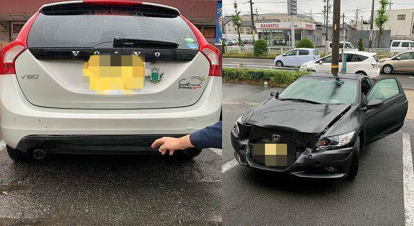 本田CR-Z追沃尔沃V60,沃尔沃油漆没掉,但本田撞车了