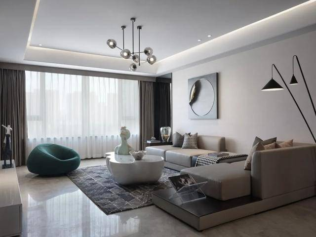 114㎡现代轻奢,简约时尚的客厅很高级,粉调的儿童房很浪漫