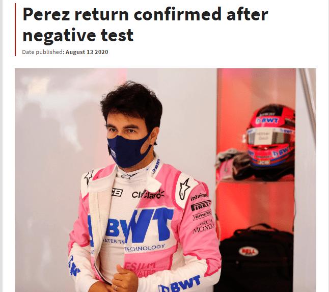 佩雷兹检测结果呈阴性 获批准F1西班牙站回归