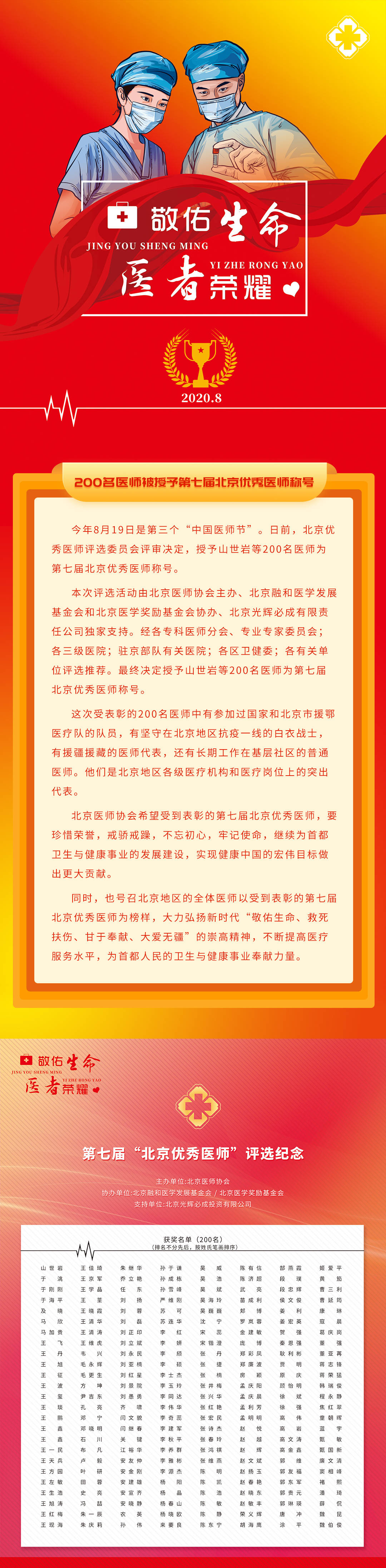 200名医师被授予第七届北京优秀医师称号