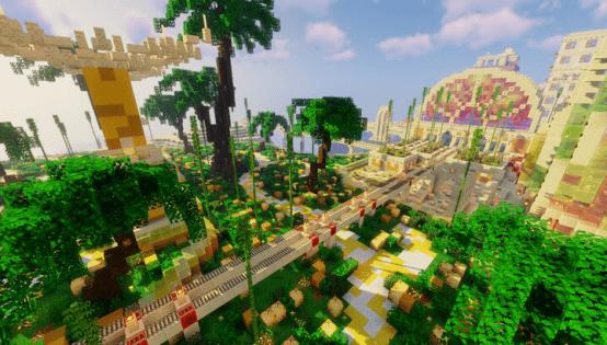 原创             这才是玩《我的世界》的初衷 猛男玩家建造的游乐园你想来吗?
