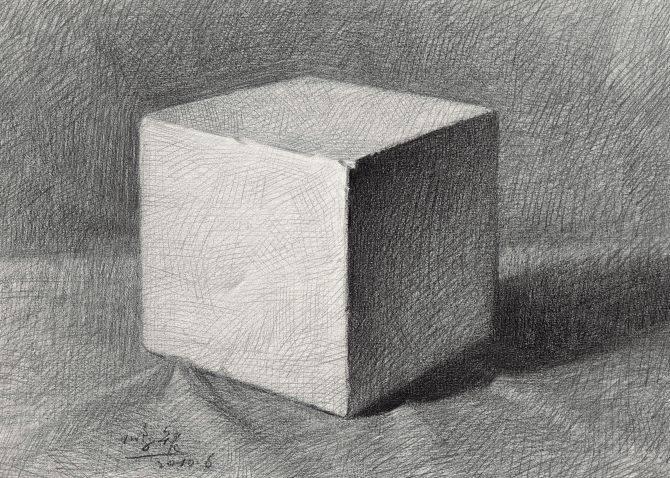 素描石膏像正方体如何画?怎么画好素描正方体? 教学教程-第7张
