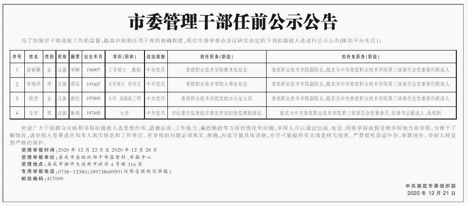 娄底、张家界最新市委管理干部任前公示公告
