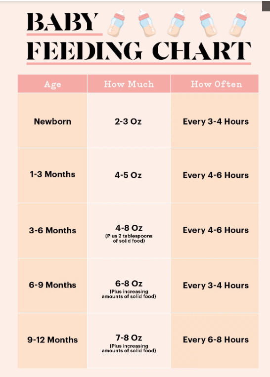 婴儿喂养表:第一年喂养婴儿的数量和时间