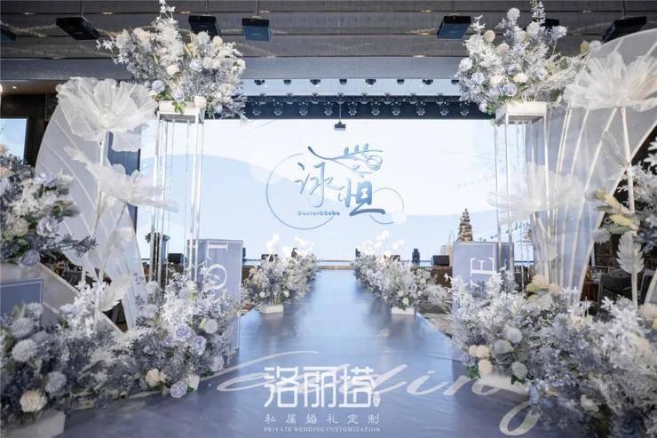 优雅内敛的雾霾蓝色婚礼,给人一种神秘的高层次感