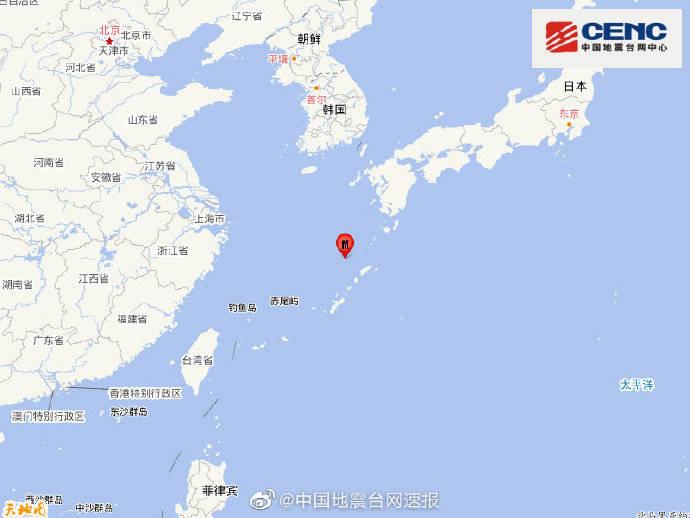 琉球群岛发生6.7级地震,震源深度150千米