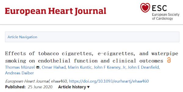【综述】首次对比:香烟,电子烟和水烟对人体的危害,尤其是对心血管的危害