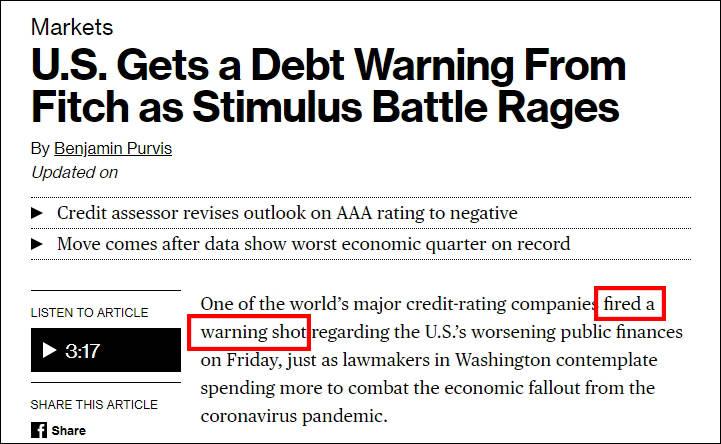 """美国经济遭休克式打击,惠誉送""""警告子弹"""""""