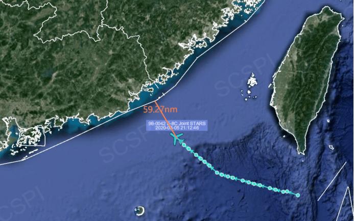 美军又到南海挑衅罕见在夜间派E-8C飞机抵近广东海岸