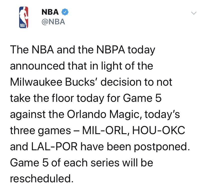 突发!雄鹿等球队罢赛,NBA推迟3场季后赛
