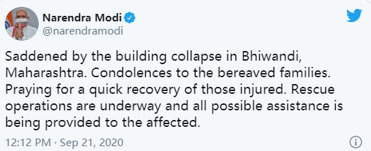 印度一公寓楼倒塌致10死,莫迪发推向遇难者家属致哀