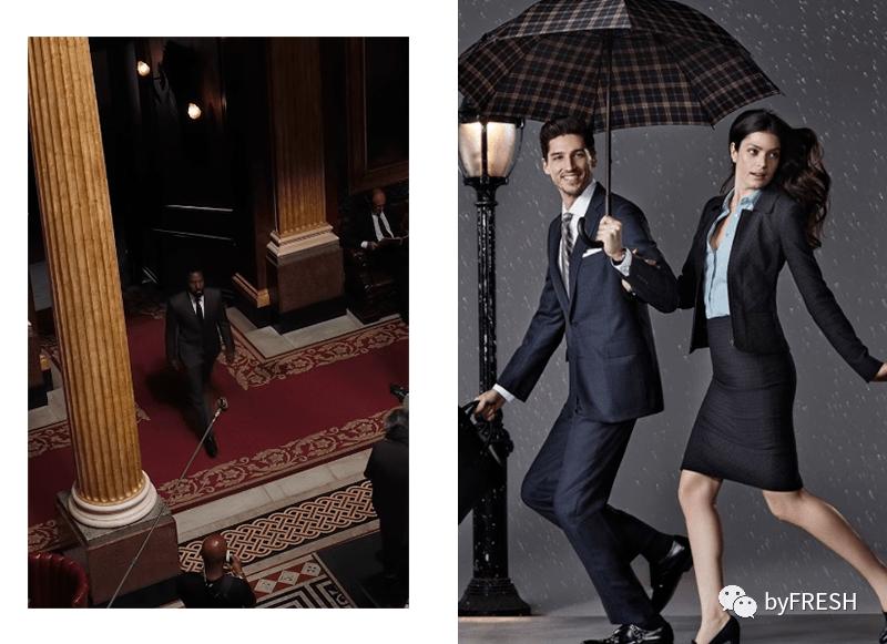 左:男主穿着Brooks Brothers去顶级私人俱乐部;右:Brooks Brothers为上班族定制的大片