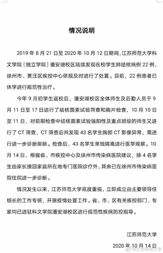 江苏师范大学通报:22名学生感染肺结核,另有43人胸部CT影像异常