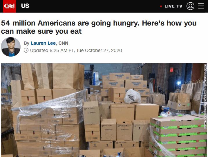 北美观察丨疫情下的美国:一周感染50万人 5400万人面临食品短缺
