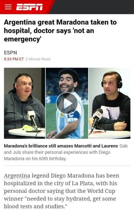 外媒:球王马拉多纳再次入院 心理健康出现问题
