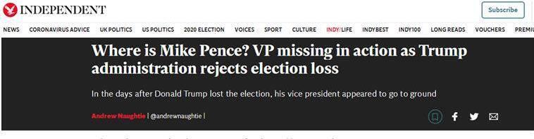 """大选余波仍在震荡,外媒发现:彭斯""""消失""""了……"""