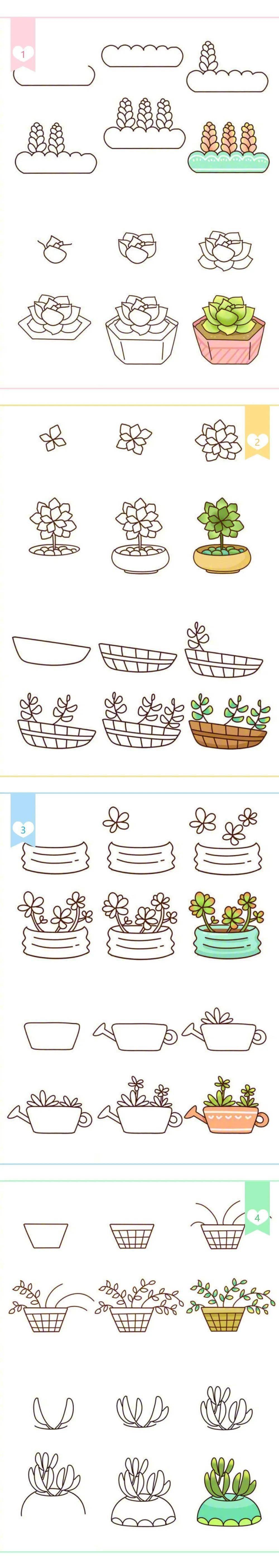 【简易画教程】植物盆栽简易画