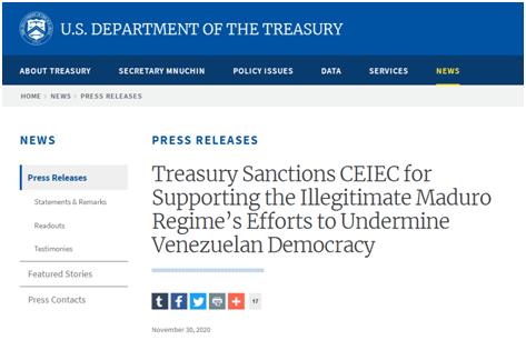 美财政部宣布制裁中国电子进出口有限公司  又借口委内瑞拉打压中企!