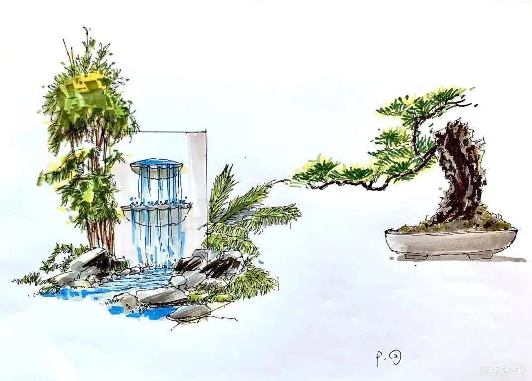 庭院设计——手绘庭院设计图