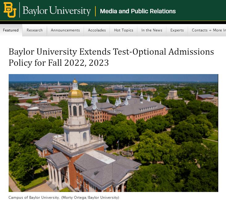 贝勒大学宣布延长SAT/ACT可选政策两年!
