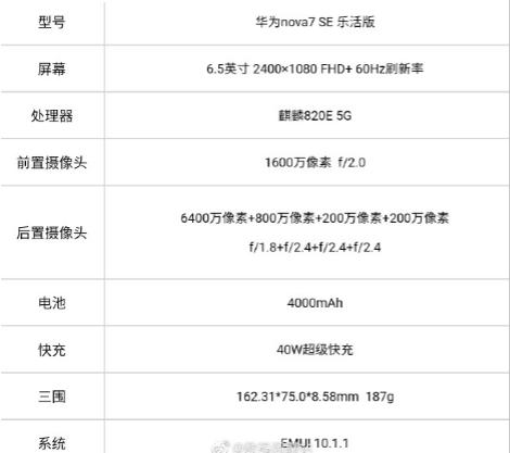 华为nova7 SE乐活版外观配置全曝光:处理器换成麒麟820E