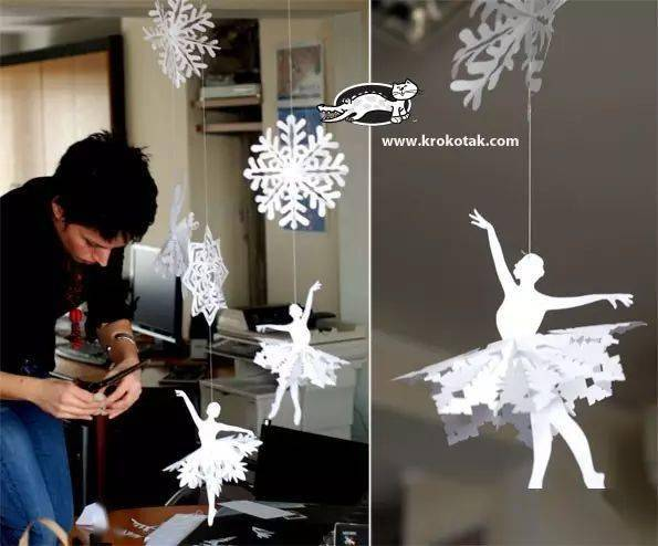 雪花剪纸与吊饰,让冬天的幼儿园更有格调~