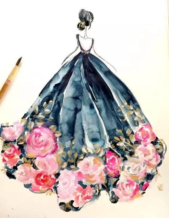 手绘了一波漂亮的服装设计草稿