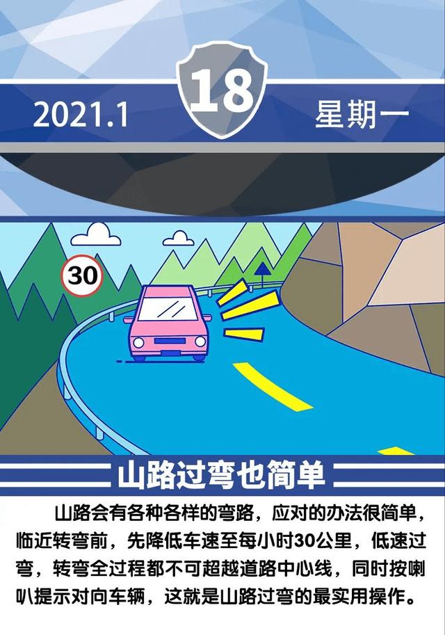 安全提示每日一图 山路过弯也简单