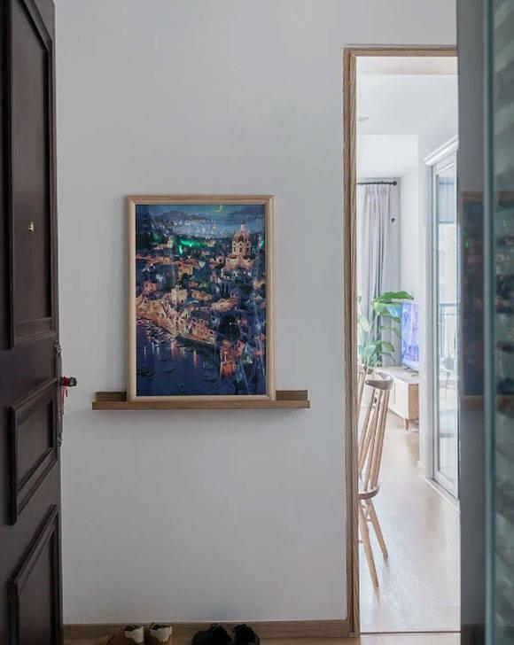 镂空玄关隔断墙,客厅装轨道灯,90㎡简约风格三房装修设计太赞了!