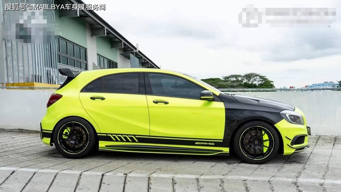 奔驰AMG A45变色闪亮的黄潮车的味道出来了