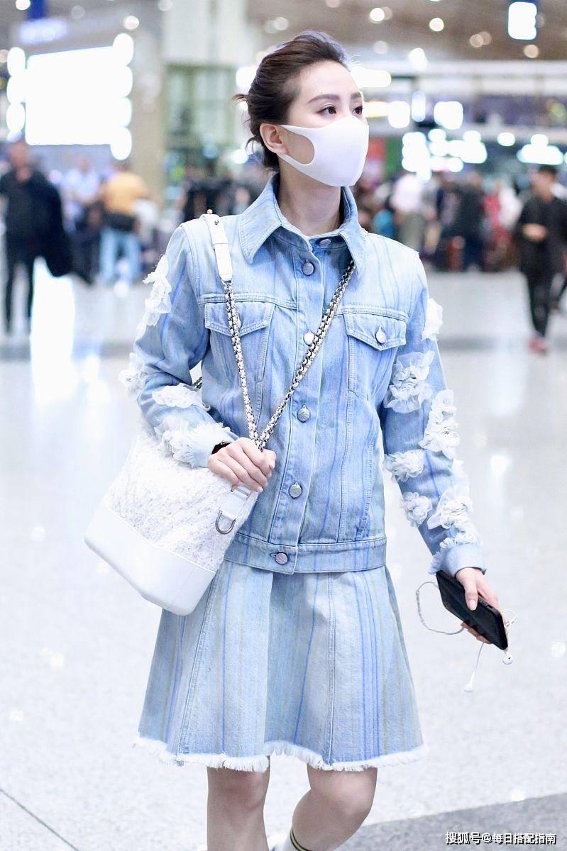 原创             刘诗诗衣品真高级,穿牛仔裙套装优雅减龄,早春照着穿美翻了