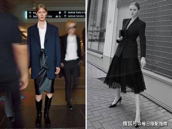 """原创             早春火了一种穿法,叫""""西装+半身裙"""",优雅时髦很有女人味"""