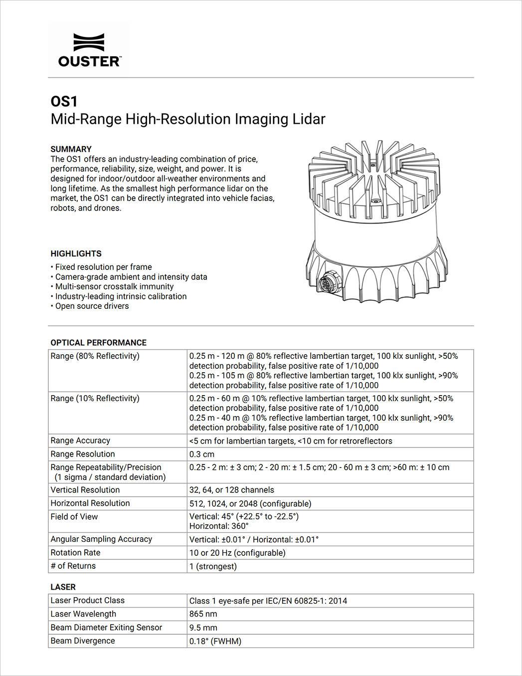 【OS1】中程激光雷达