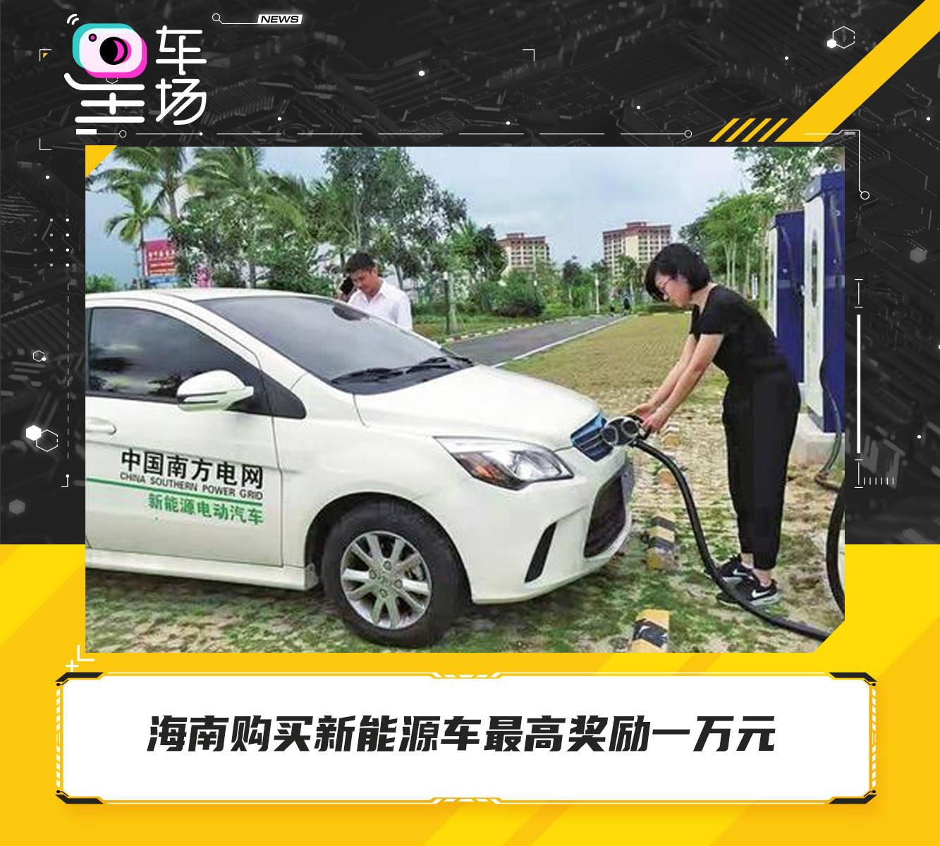 海南购买新能源车最高奖励一万元