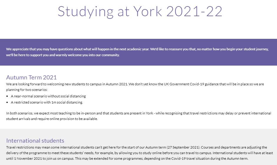 哪些英国大学已经公布秋季开学政策?线上线下混合授课模式还是主流吗?
