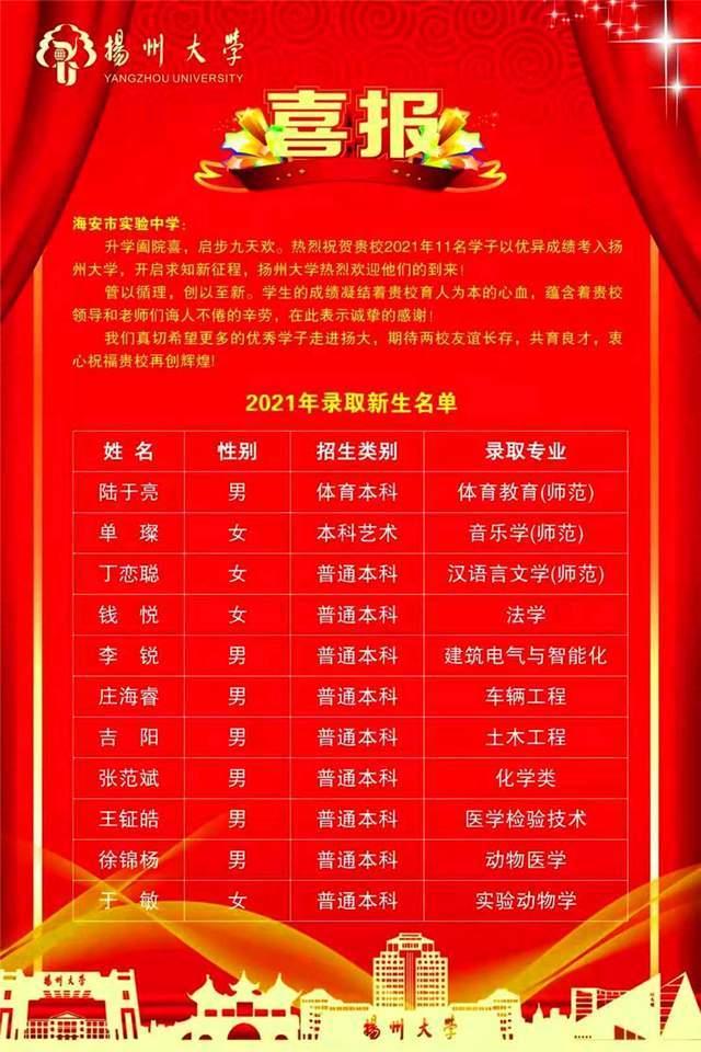 扬州大学、南通大学相继给江苏省海安实验中学发来喜报!tkx