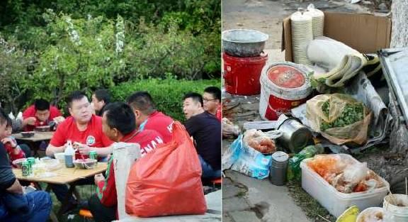 大妈路边卖小吃一小时赚百元,有人生意太火把餐桌搬进绿化带