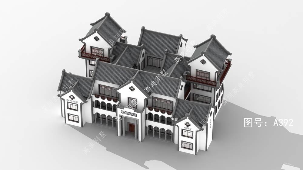 中式农村别墅,带堂屋和粮仓,经典大气。