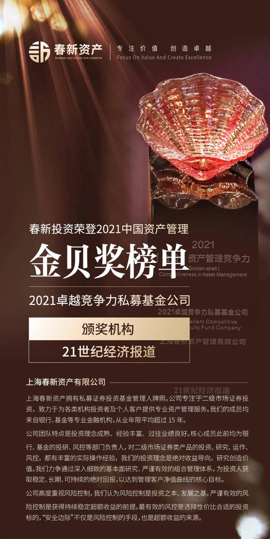 重磅丨春新资产荣登2021中国资产管理金贝奖榜单