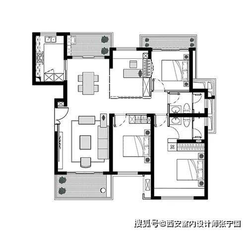 西安谷空间设计:120㎡现代禅意风格装修效果图,轻奢端庄!