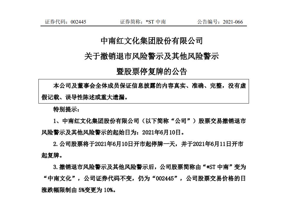 ST中南:撤销退市风险警示及其他风险警示,投资者索赔预登记