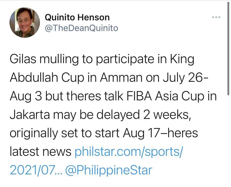 外媒曝男篮亚洲杯或延期两周举行 若成真将与全运会撞车