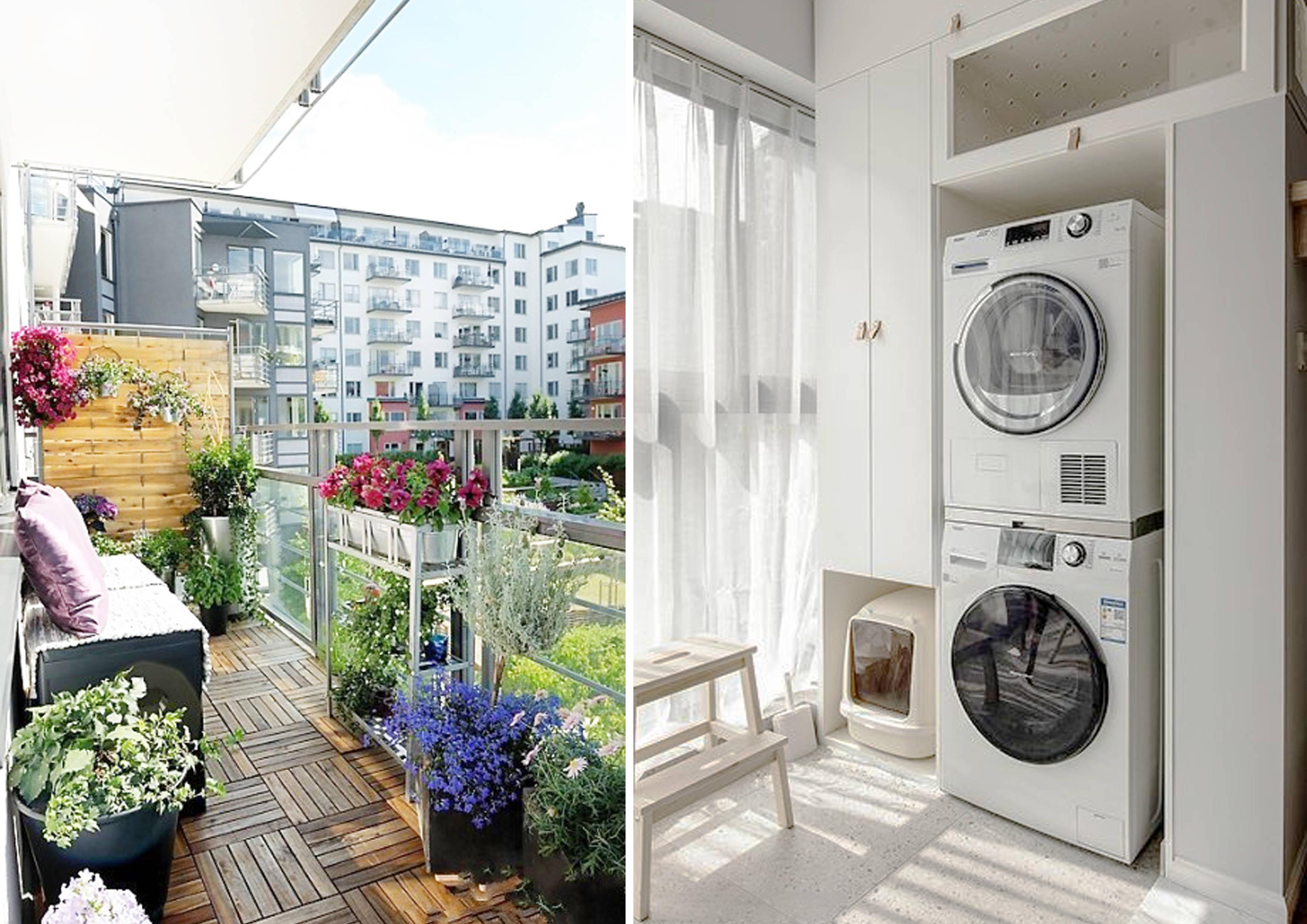 阳台改造花园的人如何优雅地晾衣服