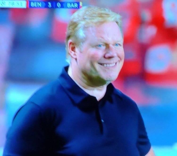 看着瘆人!巴萨丢掉第3球后 科曼场边露出诡异笑容
