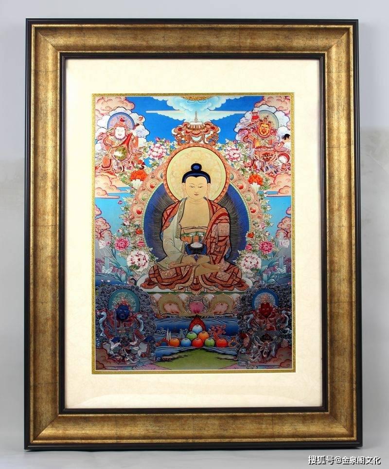 阿弥陀佛金雕彩绘唐卡米振雄娘本联袂创作