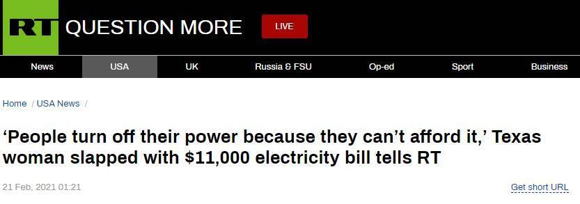 """美国得克萨斯州电价疯涨,一女子收到7万多元""""天价""""电费单"""