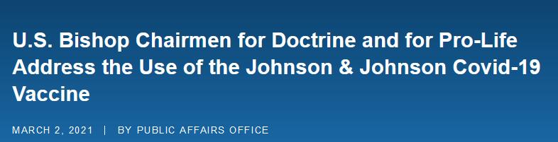 疫情之下,美国天主教主教会议呼吁:尽量别打强生疫苗,有道德问题